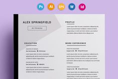 "Resume / CV - ""Springfield"" by 3Angle on @creativemarket"