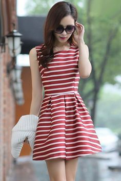 #Charming #Striped Pattern A-Line #Dress - OASAP.com