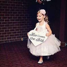 Wooden Heart Here Comes the Bride with And they lived Happily Ever After Wedding Flower Girl Sign, Ring Bearer Sign , Crisp Paint, 2-sided ** Read more reviews of the product by visiting the link on the image.