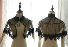 Great Gatsby Victorian Capelet High Collar Black by MiaDressShop