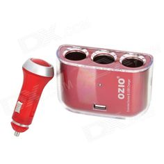 OZIO R21 1-to-3 Car Cigarette Lighter Sockets Power Adapter Splitter with USB - Red