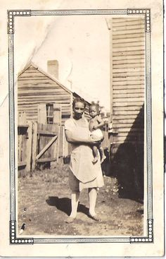 Baby Boy and Mom,  Vintage African American photograph