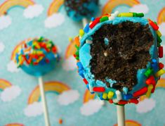Close Up of Oreo Cake Pop with Bite Missing