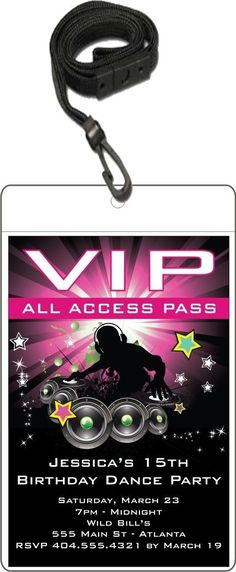 Girls' Party Ideas Nightclub DJ Dance Party VIP Pass Invitation w Lanyard - Pink Personalized Party Invites