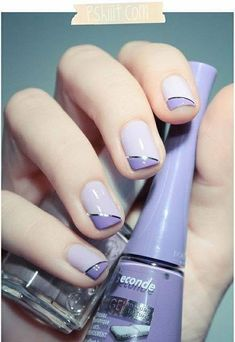 Bourjois – Lavande Esquisse & Essie – To buy or not to buy // Simplissime! - 2 tone purple nail art with silver striping tape. Manicure In - Gorgeous Nails, Love Nails, Pretty Nails, Essie, Two Tone Nails, Nagel Bling, Purple Nail Art, Purple Manicure, Purple Colors