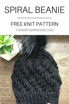 Free hat knitting pattern. Beginner friendly hat pattern that works up quickly. Beanie Knitting Patterns Free, Beanie Pattern Free, Beginner Knitting Patterns, Baby Hat Patterns, Baby Hats Knitting, Knitting For Beginners, Easy Knitting, Knit Patterns, Knitted Hats