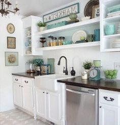 Amazing Small Kitchen Concepts For Your Snug Cooking - Home to Z Kitchen Sink Decor, Open Kitchen Cabinets, White Kitchen Decor, Farmhouse Kitchen Decor, Kitchen Shelves, Kitchen Colors, Kitchen Rack, Farmhouse Sinks, Kitchen Country