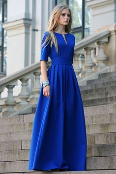 Blue Maxi Dress, Long Blue Dress, Summer Maxi Dress Blue long dress with pleats. Golden color detail in neckline. Plus Size Long Dresses, Formal Dresses For Women, Elegant Dresses, Casual Dresses, Fashion Dresses, Dress Formal, Bridesmaid Dresses, Prom Dresses, Summer Dresses