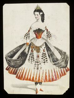 Design for a fancy-dress costume Jules Helleu (possibly designed for Worth) Fabulous costume idea Woman's masquerade ball dress. Watercolour drawing by Jules Helleu, probably for Charles Frederick Worth.