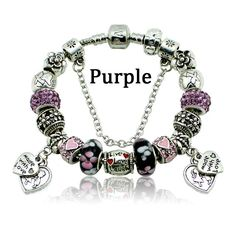 Fashion Murano Beads Heart Charm Bracelets & Bangles Fit Pandora Bracelet Making Silver Bracelets