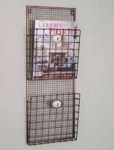 Rustic Modern Copper Grid 2-Pocket Magazine File Wall Rack