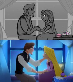 """kritterart: """" One of the promo images for Tangled: Before Ever After that released today is based on one of my (VERY old, very yucky-looking) boards! :) Still thought that was pretty neat though. Check out Tangled: Before Ever After on March on. Storyboard Drawing, Animation Storyboard, Disney Animation, Storyboard Examples, Walt Disney Pixar, Disney Tangled, Disney Art, Rapunzel And Flynn, Princess Rapunzel"""