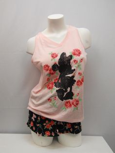 SIZE M Womens 2PC MINNIE PJ Boxer Set DISNEY Pink Floral Tank Sleeveless Shorts #Disney #PajamaSets #Everyday