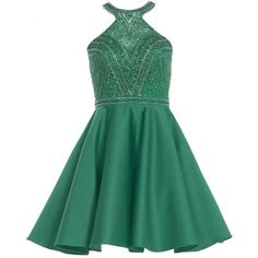 Alyce 3750 Prom Under $300 Mini Halter Sleeveless ($168) ❤ liked on Polyvore featuring dresses, emerald green, formal dresses, short homecoming dresses, green cocktail dress, short formal dresses, emerald green cocktail dress and prom dresses