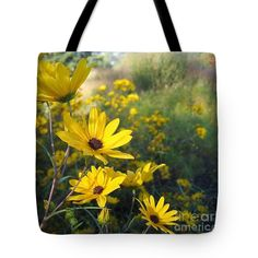 Yellow Lazy Susan Tote Bag featuring the photograph Wake Up Lazy Susan By Marilyn Nolan- Johnson by Marilyn Nolan-Johnson