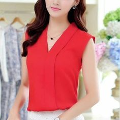Summer Women Chiffon Blouses Sexy Sleeveless V neck Casual Loose Office Lady Top Female Shirt Blouse #Affiliate