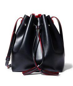 Black Vegan Leather Bucket Bag   Steve Madden