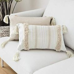 blue page Lumbar Small Decorative Throw Pillow Covers for Couch Sofa Bedroom Living Room, Woven Tufted Boho Pillows Cover with Tassels, Cute Farmhouse Pillows Case inch, Yellowy Cream) Boho Throw Pillows, Boho Cushions, Lumbar Throw Pillow, Throw Pillow Cases, Modern Pillow Covers, Modern Pillows, Cushion Covers, Sofa Couch, Bedroom Sofa