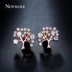 Online Shop NEWBARK Flurishing Tree Design Stud Earrings Different Sizes Round CZ Diamond Paved Hot New Fashion Earrings Women Jewelry   Aliexpress Mobile