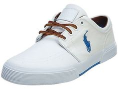 Polo Faxon Low Mens 816533940-002 White Blue Casual Shoes Sneakers Size 10.5