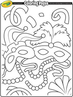 Mardi Gras Coloring Sheets Printable Elegant Mardi Gras Masks Coloring Page Crayola Coloring Pages, Printable Coloring Pages, Coloring For Kids, Coloring Pages For Kids, Coloring Sheets, Coloring Books, Coloring Worksheets, Adult Coloring, Mardi Gras Beads