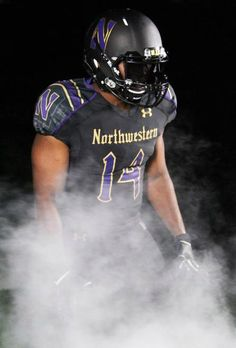 Northwestern University Wildcats Football Gothic uniforms October 2014 by Under Armour Football Uniforms, Football Helmets, What Is Design, Northwestern University, Vintage Football, October 2014, College Football, New Outfits, Product Design
