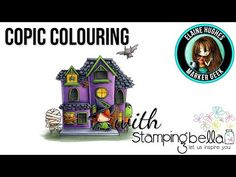 (13) Copic Colouring Stamping Bella 2017: Littles Haunted House Scene (halloween) stamp - YouTube