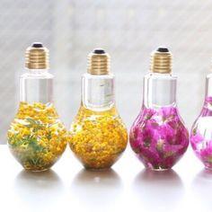 ミモザのフラワーバルブハーバリウム Resin Flowers, Flowers Nature, Dried Flowers, Light Bulb Art, Light Bulb Crafts, Botanical Interior, Interior Paint Colors For Living Room, Homemade Perfume, Essential Oil Perfume