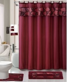Burgundy Feather 18 piece Bathroom Set  2 rugs mats  1    Shower Curtain  Details about Addison Elegant Stylish Repeating Gold Maroon Shower  . Maroon Shower Curtain Set. Home Design Ideas