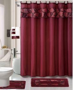 Striped Purple White 13-Pc Bath Shower Curtain /& Rings Bathroom Accessory Set