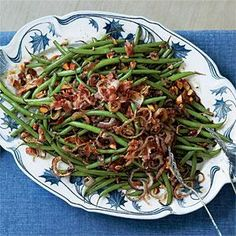 Balsamic Green Beans Recipe | MyRecipes.com  Delicious, mild sweet and sour flavor - sautéed leeks instead of fried onions, used less butter, used cider vinegar instead of balsamic