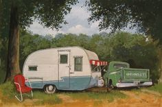 Paige Bridges captures RV camping from yesteryear on canvas. Her paints hand front and center in the state's biggest, best, and only. http:. Vintage Rv, Vintage Caravans, Vintage Travel Trailers, Vintage Campers, Retro Campers, Vintage Colors, Vintage Stuff, Shasta Trailer, Camper Trailers