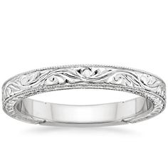 18K White Gold Hand-Engraved Laurel Ring from Brilliant Earth
