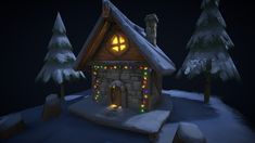Winter Cottage (Hand Painted) by tsabszy