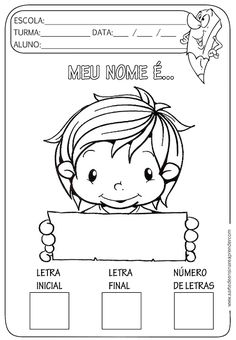 Atividades prontas - Nome próprio School Labels, Christmas Ad, Math Worksheets, Pinterest Blog, First Day Of School, Literacy, Homeschool, Cute Animals, Classroom