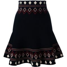 Alexander McQueen Patterned A-line Skirt (34,415 HNL) ❤ liked on Polyvore featuring skirts, bottoms, patterned skirts, elastic waist skirt, floral print a-line skirt, knee length a line skirt and a-line skirt