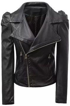 Black Lapel Long Sleeve Zipper PU Crop Jacket - Sheinside.com