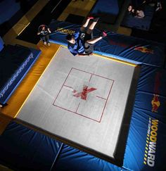 New trampolines are pushing athletes to do bigger tricks, but are they making skiing loose its style? Gymnastics Trampoline, Amazing Gymnastics, Sports Equipment, Skiing, Basketball Court, Trampolines, Athletes, Snow, Style