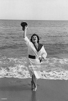 Opera singer Birgit Nilsson vacationing.