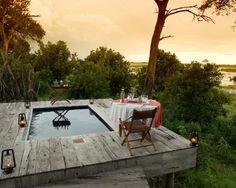 Romantic dinner for two at Zarafa camp, Botswana.