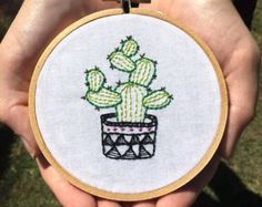 Cactus Embroidery by MutedRoseMercantile on Etsy