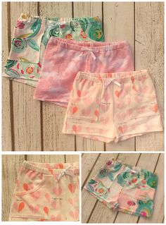 These baby girl shorts are the ultimate summer outfit! Soft, feminine, and comfortable these shorties, available in floral, pink lace, or heart print, are sure to be a staple among you little girl's warm weather clothes! Features front pockets and faux drawstring. Check them out at https://www.etsy.com/shopthestorkshoppe/