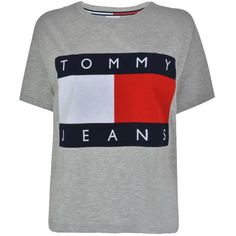Tommy Jeans Flock T Shirt (150 BRL) ❤ liked on Polyvore featuring tops, t-shirts, shirts, grey marl, short-sleeve shirt, crew-neck shirts, short sleeve t shirt, crew shirt and crewneck shirt