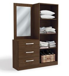 Buy Araki 2 Door Wardrobe & Dressing Table by Mintwud Online - Modern Cabinets - Cabinets - Furniture - Pepperfry Product Wardrobe Interior Design, Wardrobe Design Bedroom, 2 Door Wardrobe, Bedroom Furniture Design, Closet Bedroom, Modern Furniture, Furniture Ideas, Wardrobe With Dressing Table, Dressing Table Design