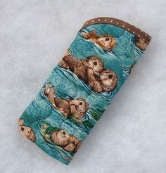 Quilted Sunglass/Eyeglass Case  Otters by doodlebugquilts on Etsy (Accessories, Case, Eyeglass, handmade, quilting, sunglass case, otters, blue, ocean, otter, brown, cute, sea otter)