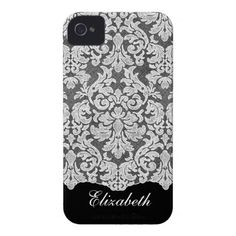 Girly Lace Pattern with Name - black white Case-Mate iPhone 4 Cases