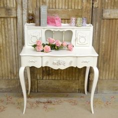 Petite Writing Desk in White with Roses $875.00 #thebellacottage #shabbychic #OOAK