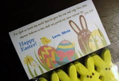 Easter Treat Bag Topper with Bible Verse - John 3:16 - great for daycare, preschool, church, etc!