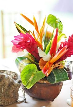 Tropical flower arrangement reception wedding flowers, wedding decor, wedding flower centerpiece, wedding flower arrangement, add pic source on comment and we will update it. can create this beautiful wedding flower Tropical Flowers, Tropical Flower Arrangements, Exotic Flowers, Fresh Flowers, Summer Flowers, Colorful Flowers, Tropical Home Decor, Tropical Party, Tropical Houses