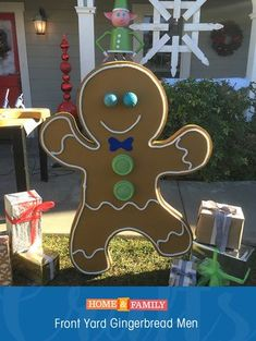Gingerbread men, diy foam core, rope and decos for the face and body Candy Land Christmas, Christmas Gingerbread House, Christmas Holidays, Gingerbread Men, Christmas Ornaments, Country Christmas, Family Christmas, Christmas Trees, Exterior Christmas Lights